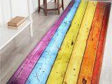 54 Inch Bath Rug Rainbow Wood Grain Print Skid Resistant Bathroom Rug