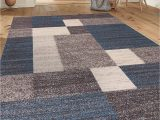 "5×7 Latex Backed area Rugs Modern Boxes Design Non Slip Non Skid area Rug 5 X 7 5 3"" X 7 3"" Blue"