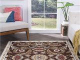 5×7 Non Skid area Rug Greta Transitional Floral Brown Non Skid Rectangle area Rug 5 X 7