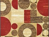 5×7 Rubber Backed area Rug Squares Rubber Backed Non Slip Non Skid Runner area Rugs Red Beige Brown 2 Ft