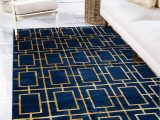5×8 Navy Blue Rug Unique Loom Marilyn Monroe Glam Collection Textured Geometric Trellis area Rug Mmg001 2 X 3 Feet Navy Blue Gold