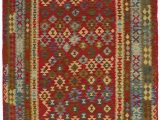 "6 by 10 area Rugs Alia Handwoven Flatweave 6 6"" X 10 Wool Red Green area Rug"