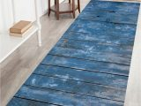 60 Inch Long Bath Rugs Blue Wood Grain Print Bathroom Rug