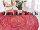 7 Feet Round area Rugs Braided Handmade Reversible Cotton Circle Rug Floor Round 7