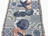 72 Inch Bath Rug Runner Windham Home Coastal Nautical Seascapes Tapestry Table Runner 72 Inch X 13 Inch Blue Starfish Seahorse Seashells