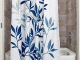 "72 Inch White Bath Rug Idesign Leaves Botanical Fabric Bathroom Shower Curtain 72"" X 72"" White Blue"