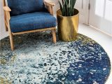 8 Round Rug Blue Unique Loom Estrella Collection Colorful Abstract Blue Round Rug 8 0 X 8 0