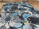 8×10 Blue and Gray Rug Modern Large Floral Non Slip Non Skid area Rug 8 X 10 7 10 X 10 Gray Blue