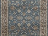8×10 Non Slip area Rugs Cornwall oriental Hand Knotted 8 X 10 Wool Blue Brown area Rug