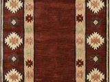 Amazon 5 by 8 area Rugs Rizzy Home Collection Wool area Rug 5 X 8 Burgundy Tan Rust Navy Sage southwest Tribal