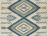 American Home Furniture area Rugs Rizzy Home Collection Wool area Rug 8 X 10 Aqua Ivory southwest Tribal