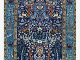 Antique Blue oriental Rug Blue Antique Persian isfahan Silk Rug with Flowers Animals Print
