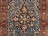 Antique Blue oriental Rug Small Blue Background Antique Persian Malayer Rug Nazmiyal