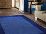 Area Rug for Blue Couch Transitional Hand Tufted solid Blue area Rug