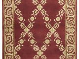 Area Rug with Gold Accents Handmade Rectangular Vine and Floral area Rug In Gold with Burgundy Accents