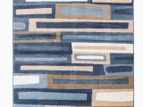 """Area Rugs Blue and Tan Romance Collection Rugs Blue Brown Cream White Geometric Abstract Design Premium soft area Rug 3 7"""" X 5 Rug Size Walmart"""