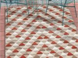 """Area Rugs for High Traffic areas Well Woven Miami Red Indoor Outdoor Triangles area Rug 5×7 5 3"""" X 7 3"""" High Traffic Stain Resistant Modern Geometric Carpet"""