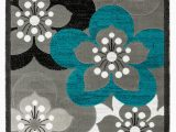 Area Rugs Grey and Teal Newport Collection Gray Teal White Floral Modern area Rug Walmart