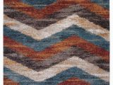 "Area Rugs with Blue and Browns Rectangle Abacasa Granada Chevron area Rug Blue Brown Rust Ivory 63""x90"""