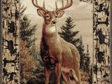 Area Rugs with Deer On them Wildlife Border Whitetail Deer Buck Cabin Lodge area Rug 3