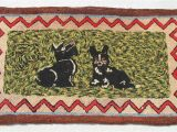 Area Rugs with Dog Designs Antique Americana Folk Art Hand Hooked area Rug Scottie