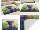 Area Rugs with Dog Designs Cute Pug Dog On Grass Vintage area Rug Rugs for Living