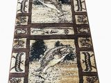 Area Rugs with Fish On them Carpet King Cabin Style Runner area Rug Big Bass Fish Country Lodge Beige Brown Black Green Design 363 2 Feet 2 Inch X 7 Feet 2 Inch