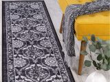 """Area Rugs with Non Skid Backing Antep Rugs Casa Azul Collection Geometric Floral Non Skid Non Slip Low Profile Pile Rubber Backing Indoor area Rug Grey 1 8"""" X 4 11"""""""