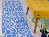 """Area Rugs without Rubber Backing Antep Rugs Casa Azul Collection Geometric Contemporary Non Skid Non Slip Low Profile Pile Rubber Backing Indoor area Rug Blue Cream 1 8"""" X 4 11"""""""
