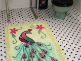 Art Deco Bath Rug Art Deco Vintage 1940s Peacock Chenille Throw Rug Bath Mat