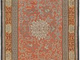 Art Deco Style area Rugs Vintage Chinese orange Cream and Gray Hand Knotted Silk Rug