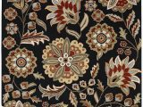 Athena Garden Floral area Rugs Surya ath 5017 athena Black 7 Feet 6 Inch by 9 Feet 6 Inch area Rug