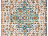 Baby Blue oriental Rug Gutierez oriental Gray Light Blue orange area Rug