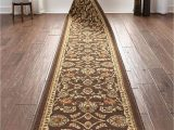 "Bath Rug Runner 22 X 60 Well Woven Custom Size 22"" Wide by Select Your Runner Length Non Slip Rubber Backed Machine Washable Halll Rug Timeless oriental Brown Indoor Outdoor"