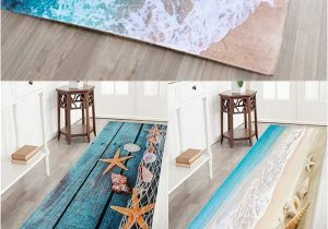 Bath Rugs that Absorb Water Sea Beach Print Flannel Skid Resistance Water Absorb Carpet