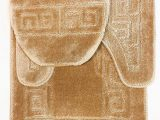 "Bathroom Rug Sets Big Lots 3 Piece Bath Rug Set Pattern Bathroom Rug 20""x32"" Contour Mat 20""x20"" with Lid Cover Beige"