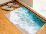 Bathroom Rugs Beach theme Beach Seaside Print Flannel Water Absorb Floor Rug In 2020