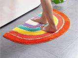 "Bathroom Rugs Safe for Vinyl Flooring Udolfly Non Slip Bathmats for Bathroom Rainbow Bathroom Rugs Half Circle Bath Mats Kids Bath Mats orange area Rugs 20""x32"""