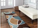 """Better Homes and Gardens area Rug Waves Better Homes and Gardens Geo Wave Printed Nylon Rug 1 11"""" X 5 6"""" Runner Blue Brown"""