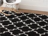 Black and White area Rugs 3×5 Black & White Trellis Shag Rug 3 Feet 2 Inch by 5 Feet 3×5