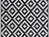 Black and White area Rugs Amazon Fh Home Indoor Outdoor Recycled Plastic Floor Mat Rug Reversible Weather & Uv Resistant Aztec Black White 5 Ft X 8 Ft