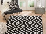 "Black and White area Rugs Amazon Summit 046 Black White Diamond area Rug Modern Abstract Many Sizes Available 4 10"" X 7 2"""