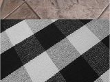 Black and White Checkered Bathroom Rug Black and White Plaid Rug Cotton Porch Rugs Hand Woven