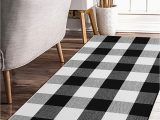 Black and White Checkered Bathroom Rug Earthall Cotton Buffalo Black and White Plaid Rugs Hand Woven Checkered Carpet Washable Kitchen Frontdoor Living Room Laundry Room Bathroom Bedroom