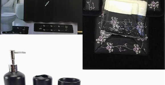 Black Bath Rug Set Wpm 22 Piece Bath Accessory Set Beverly Black Flower Bath Rug Set Shower Curtain Accessories