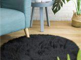 Black Fuzzy Bathroom Rug Ciicool soft Faux Sheepskin Fur area Rugs Fluffy Rugs for Bedroom Silky Fuzzy Carpet Furry Rug for Living Room Girls Rooms Black Round 3 X 3 Feet