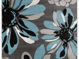 Black Gray Blue area Rug Floral Gray Black Blue area Rug – Modern Rugs and Decor