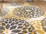 """Black Grey and Yellow area Rug Modern Floral Circles Design area Rugs 7 6"""" X 9 5"""" Yellow"""