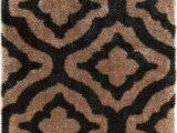 Black White and Tan area Rug Jesse Trellis Black Plush Shag Rug
