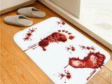 Blood Rug for Bathroom Halloween Red Blood Bath Bathroom Mat Bloody Footprint